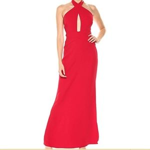 NEW💕 Laundry by Shelli Segal-Red Halter wrap gown